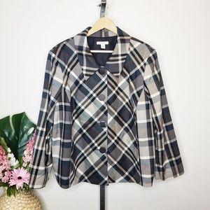 Dress Barn Women's Plaid 4 Button Jacket